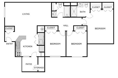 3 bed, 2 bath floor plan