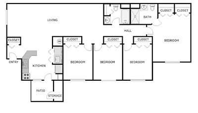 4 bed, 2 bath floor plan